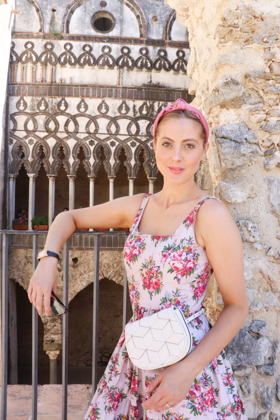 Eva Amurri Martino in a floral sundress in Italy