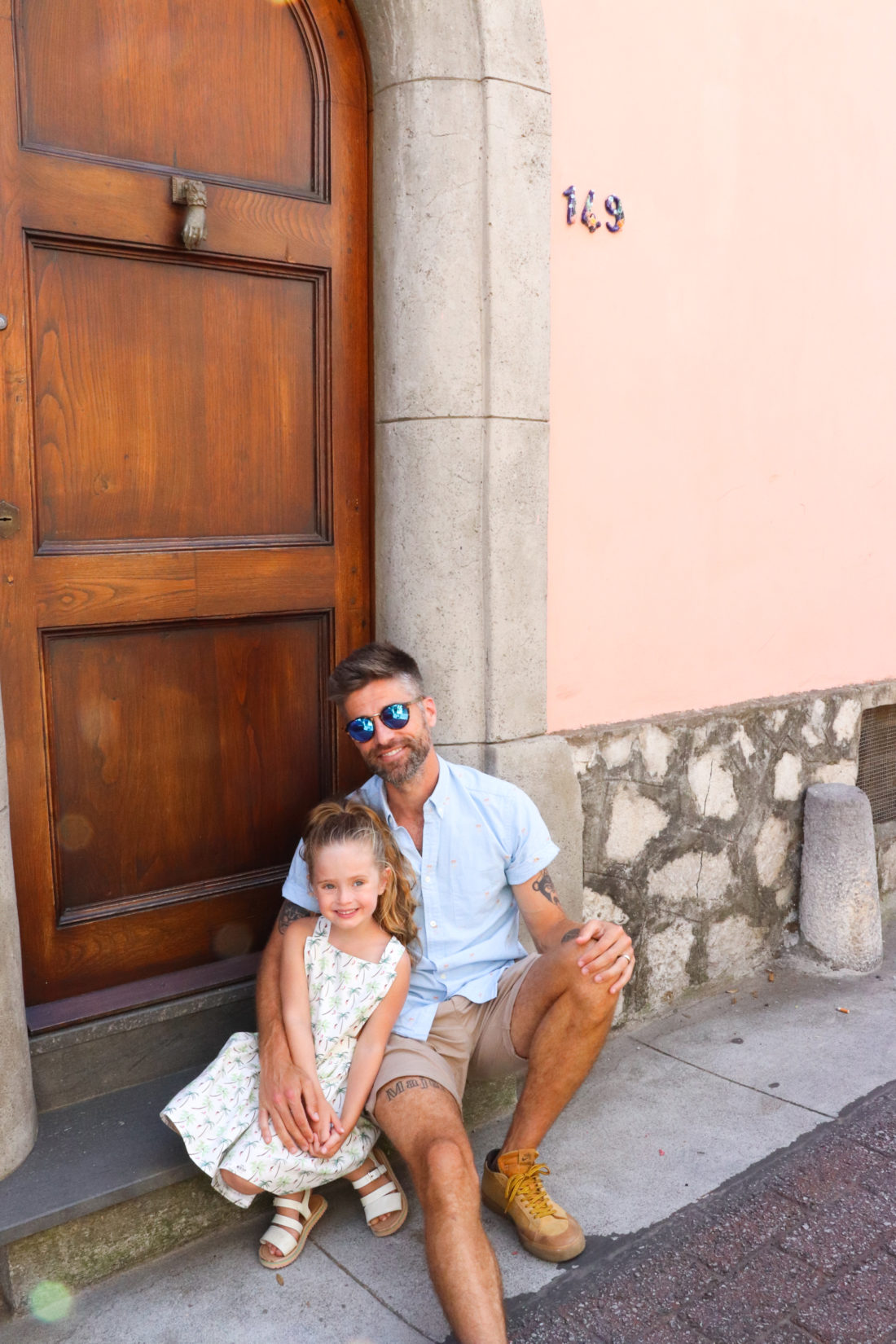 Kyle Martino and daughter Marlowe in Italy