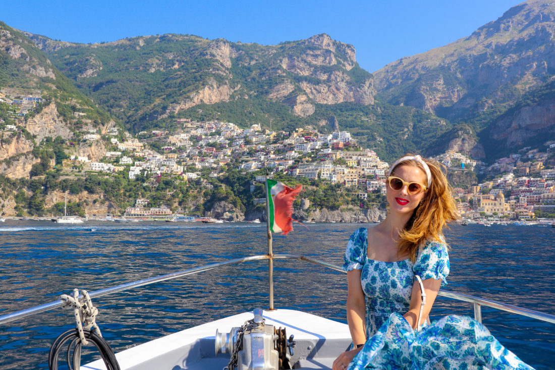 Eva Amurri Martino on a boat on the Amalfi Coast