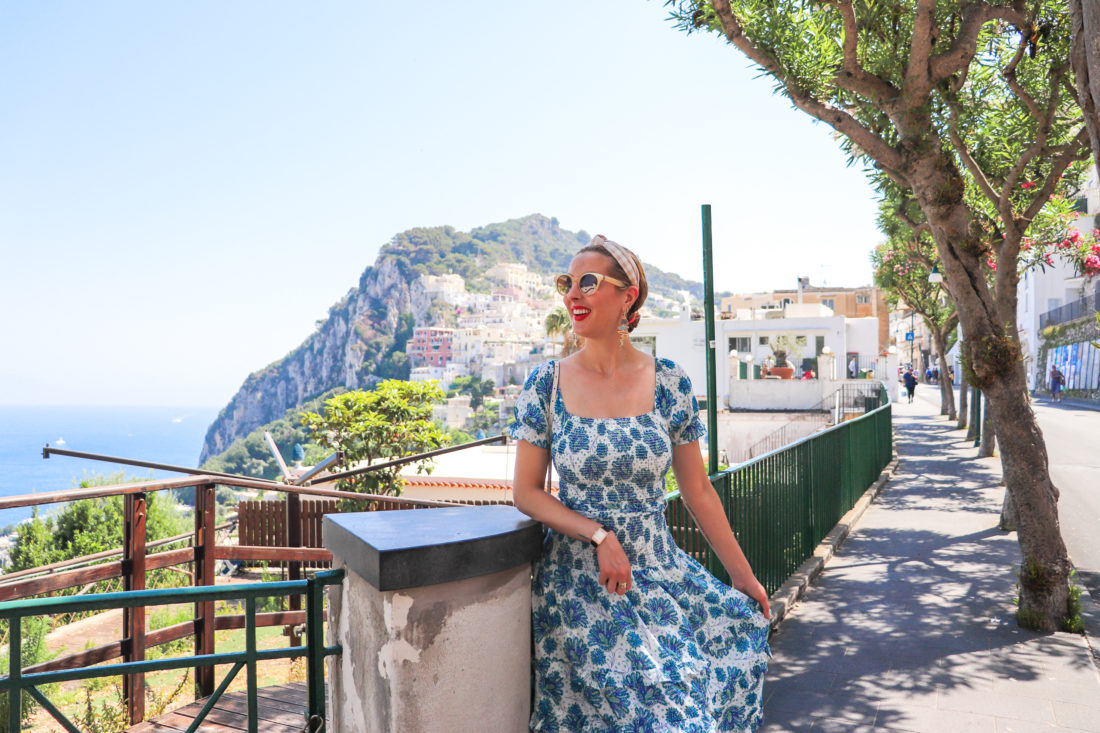 Eva Amurri Martino by the cliff in the Amalfi Coast