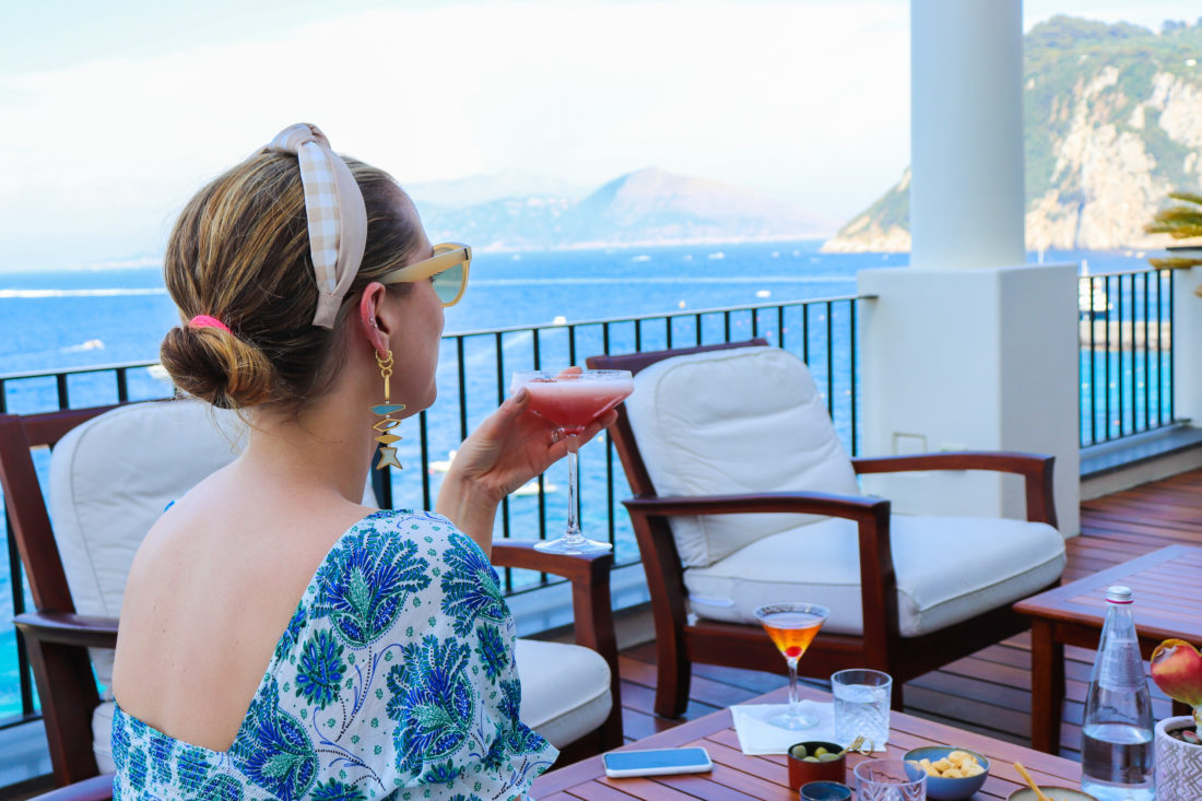 Eva Amurri Martino enjoys a cocktail In Amalfi