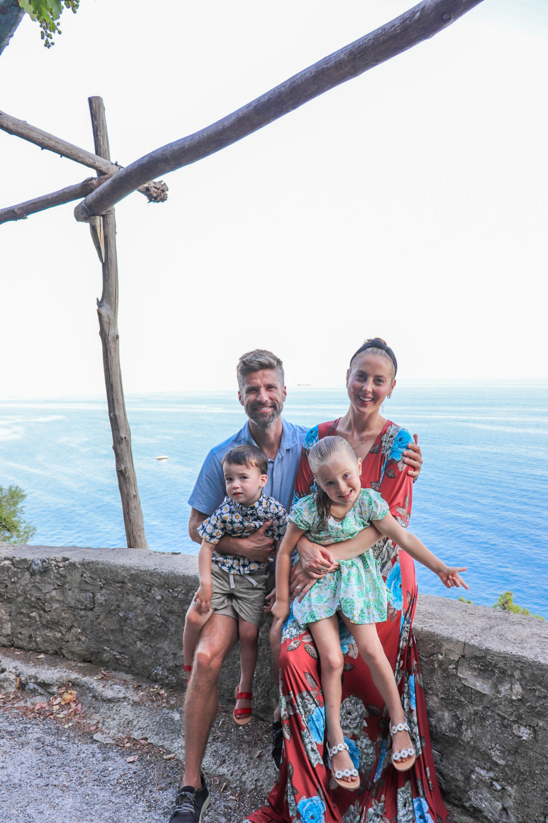 Eva Amurri Martino and husband Kyle with their children Marlowe and Major in Italy