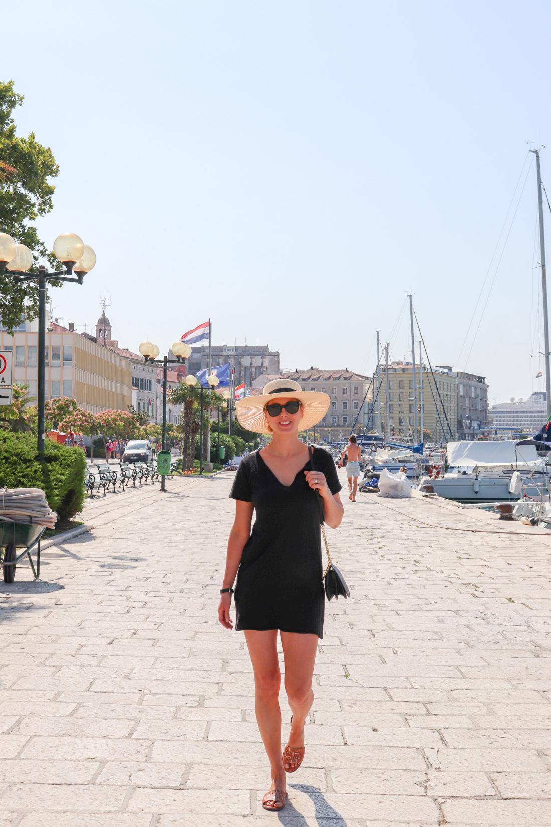 Eva Amurri Martino walks along the waterfront of Sibenik Croatia
