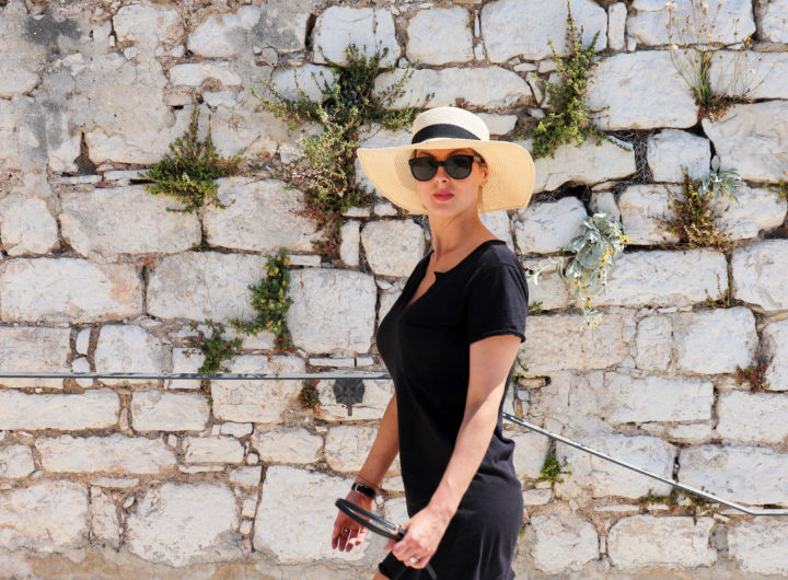 Eva Amurri Martino walks along the waterfront of Sibenik Croatia