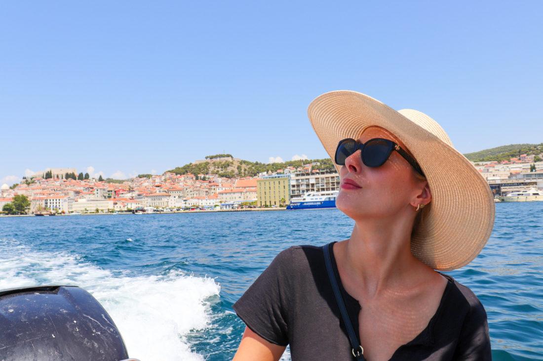 Eva Amurri Martino on a boat in Croatia