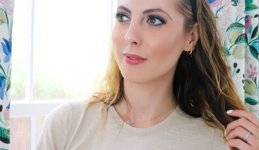 Eva Amurri Martino kicks back in her office while wearing drugstore-only makeup
