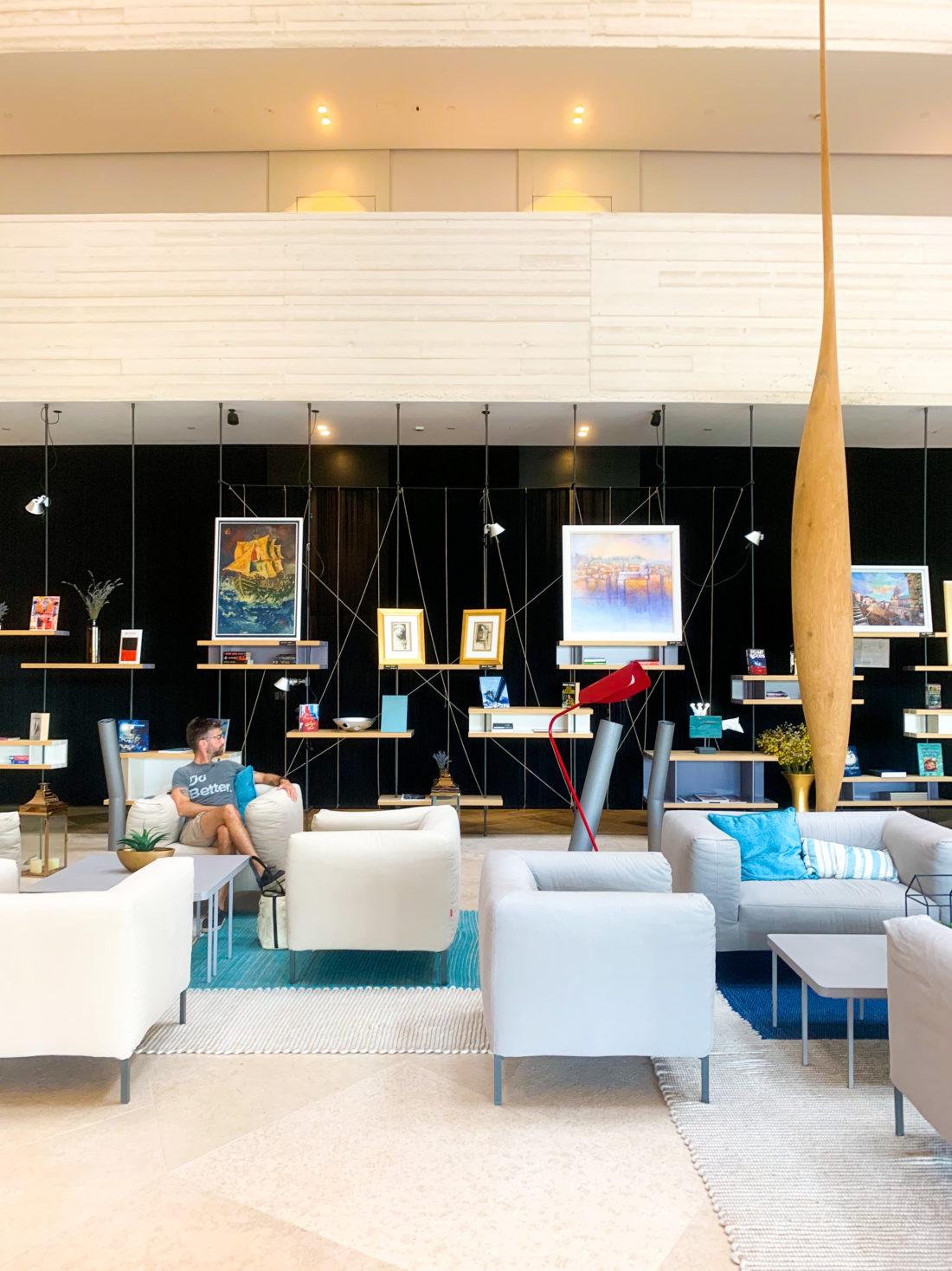 Kyle Martino enjoys the hotel lobby in Sibenik Croatia