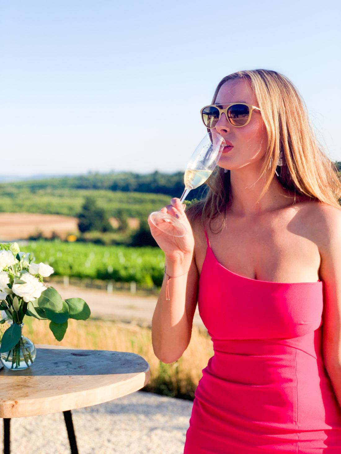 Eva Amurri Martino sips champagne in a hot pink dress in Croatia
