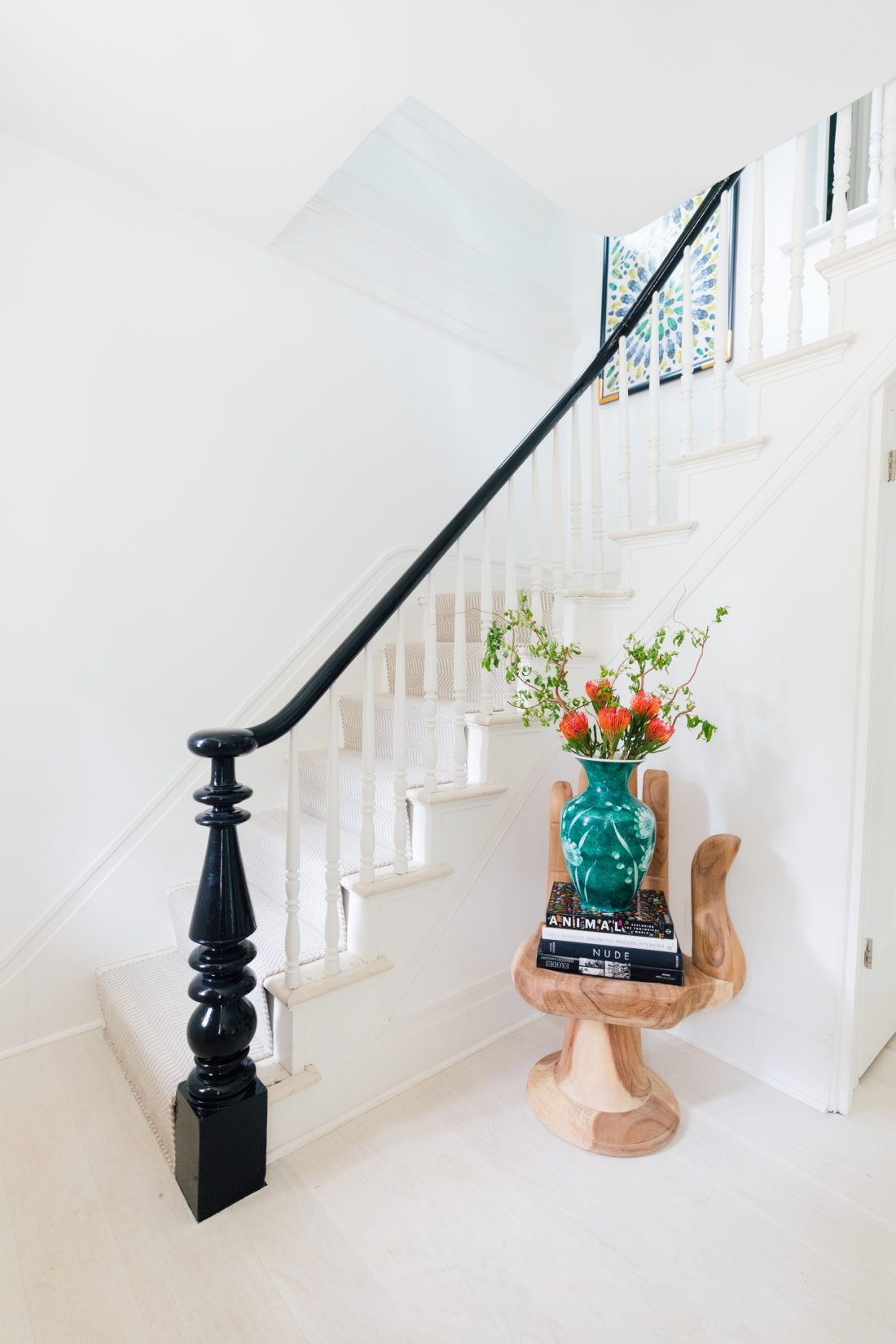 A hand chair sits in the entry way of Eva Amurri Martino's Connecticut home