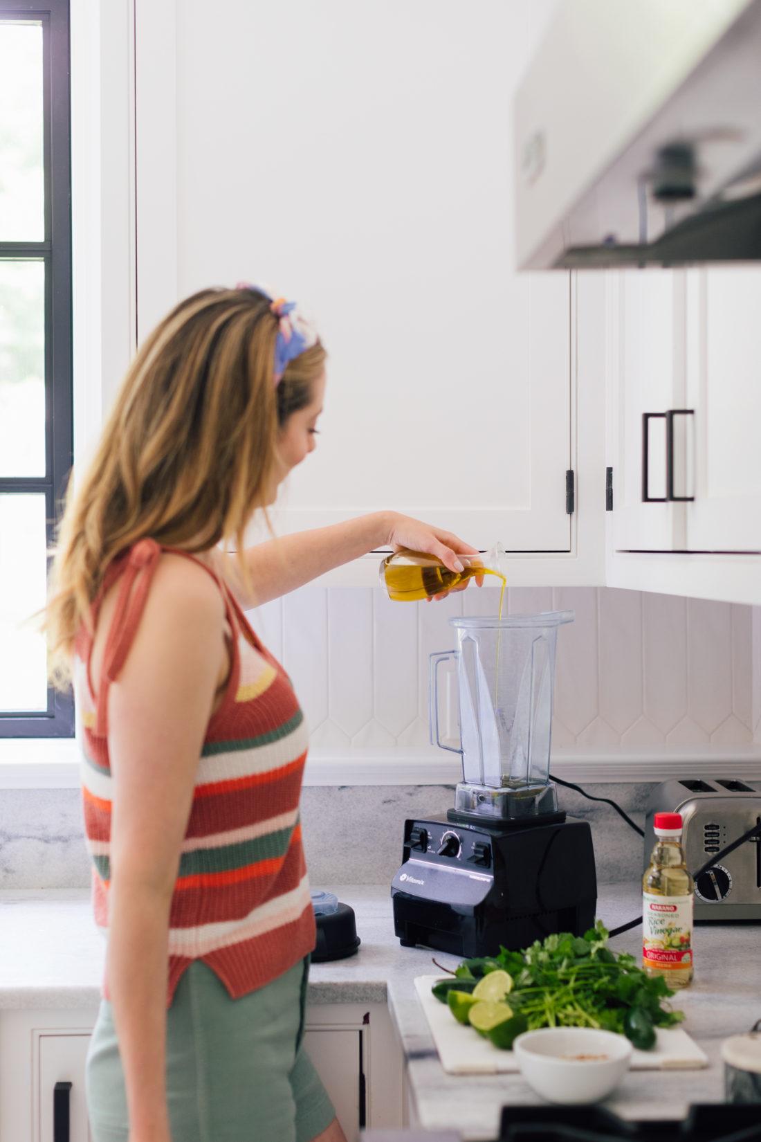 Eva Amurri Martino makes the vinaigrette for Buster's Famous Green Fish recipe