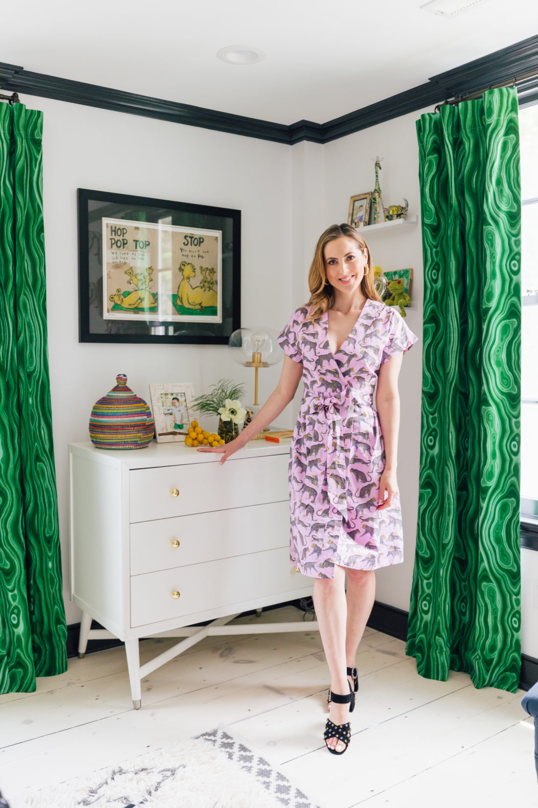 Eva Amurri Martino poses next to the dresser in her son Major's new bedroom in their new home in Westport