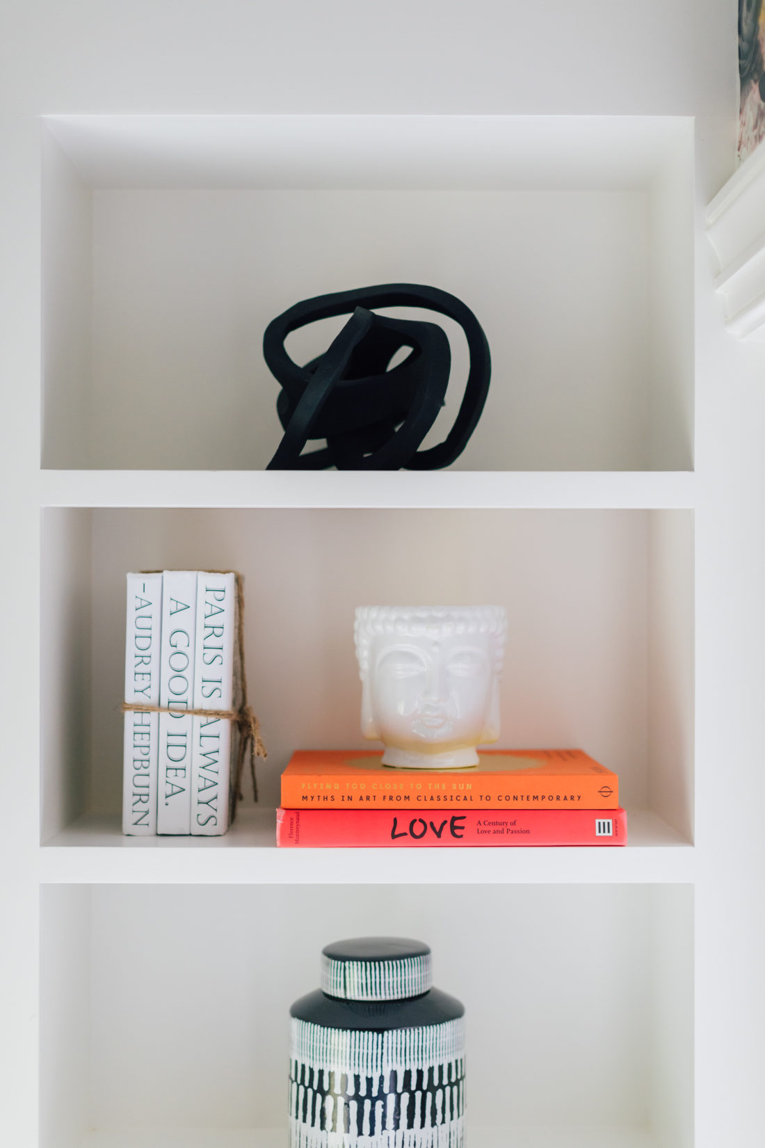 The shelving inside of the Snuggle Nook at Eva Amurri Martino's Westport home