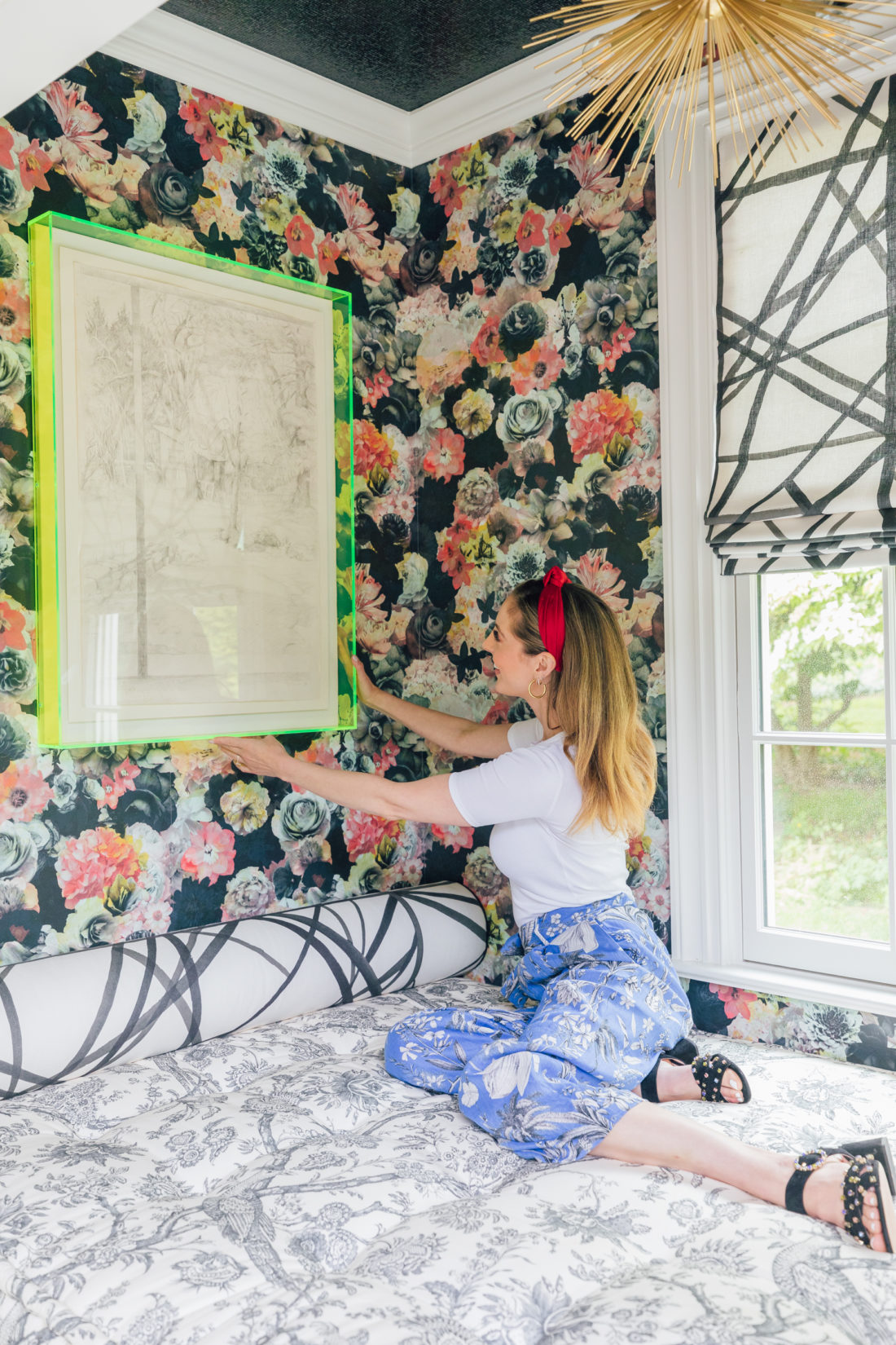 Eva Amurri Martino sits in her colorful snuggle nook in her Connecticut home