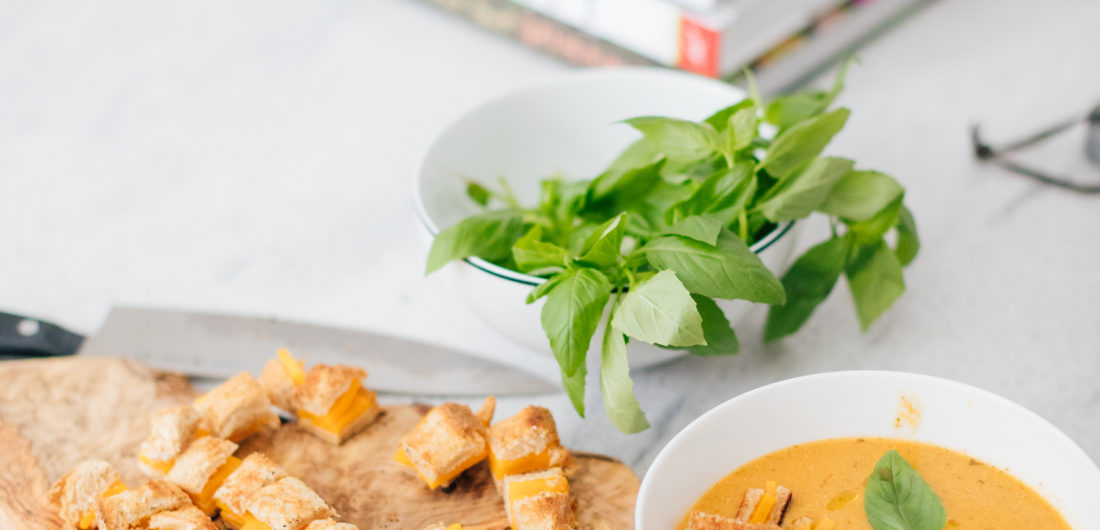 Eva Amurri Martino shares her Heirloom Tomato Soup With Grilled Cheese Croutons recipe