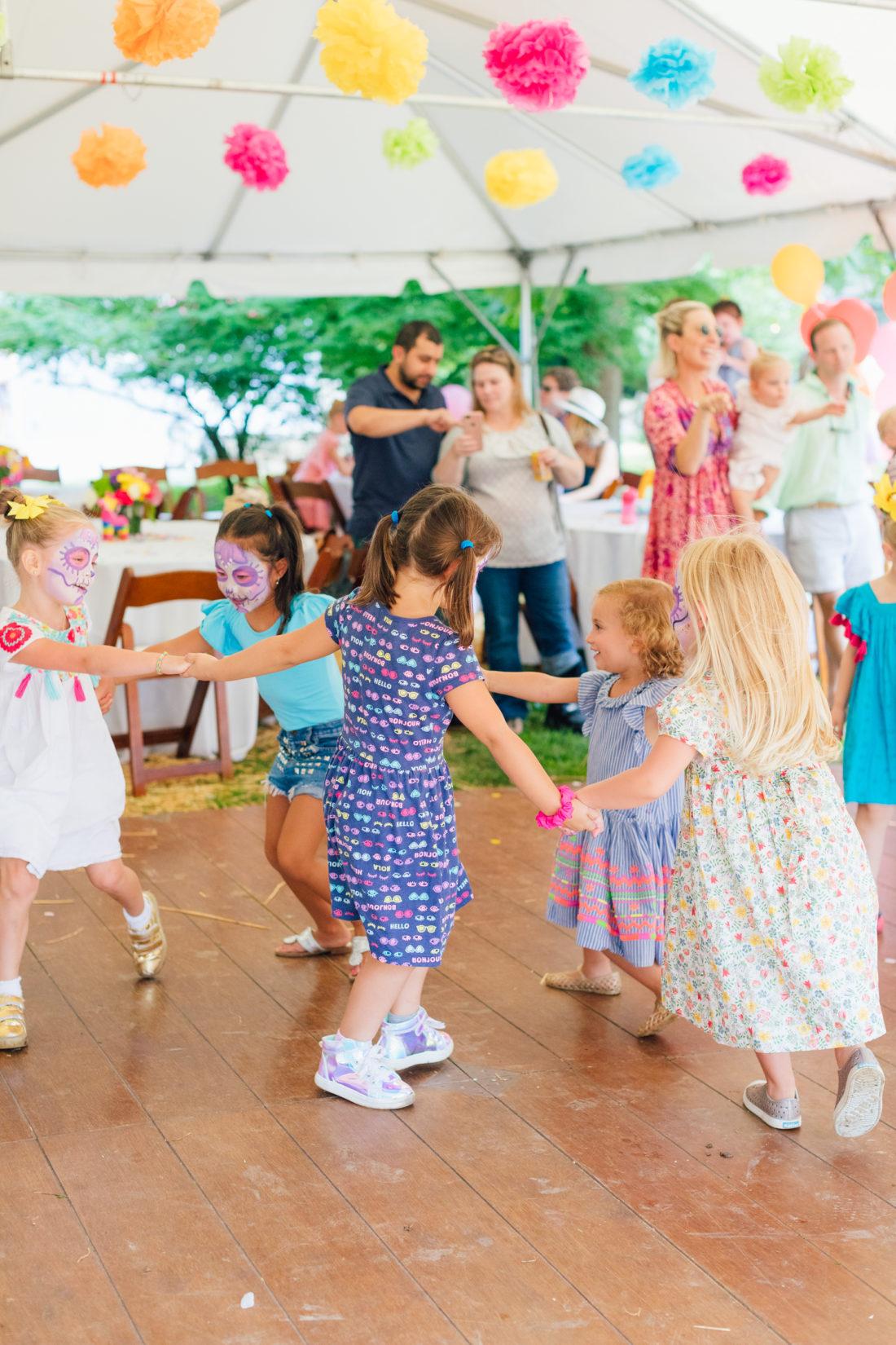 Children dance at Eva Amurri Martino's daughter Marlowe's 5th birthday party