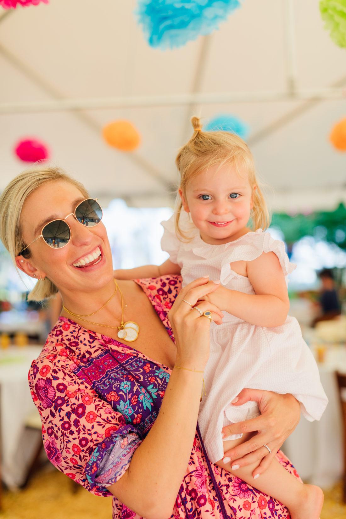 Blogger Julia Dzafic of Lemon Stripes and daughter Amalia dance at Marlowe Martino's Cinco de Marlowe themed 5th birthday fiesta