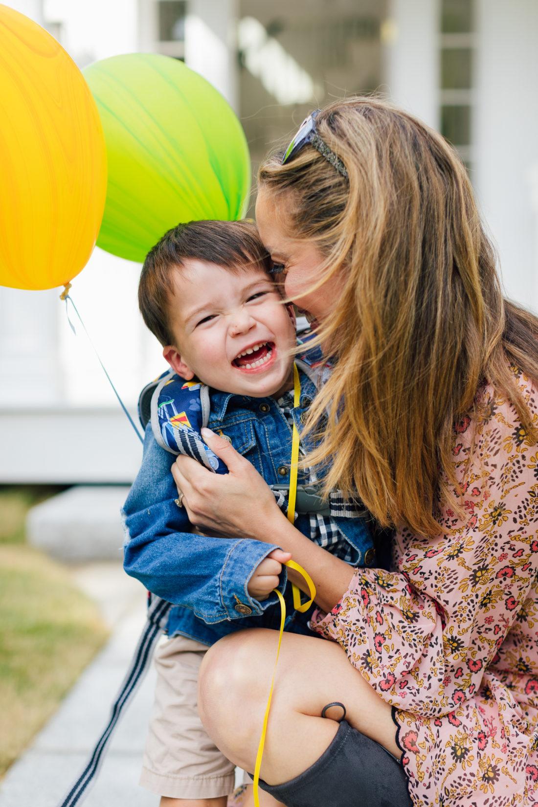 Eva Amurri Martino kisses son Major in his back to school apparel