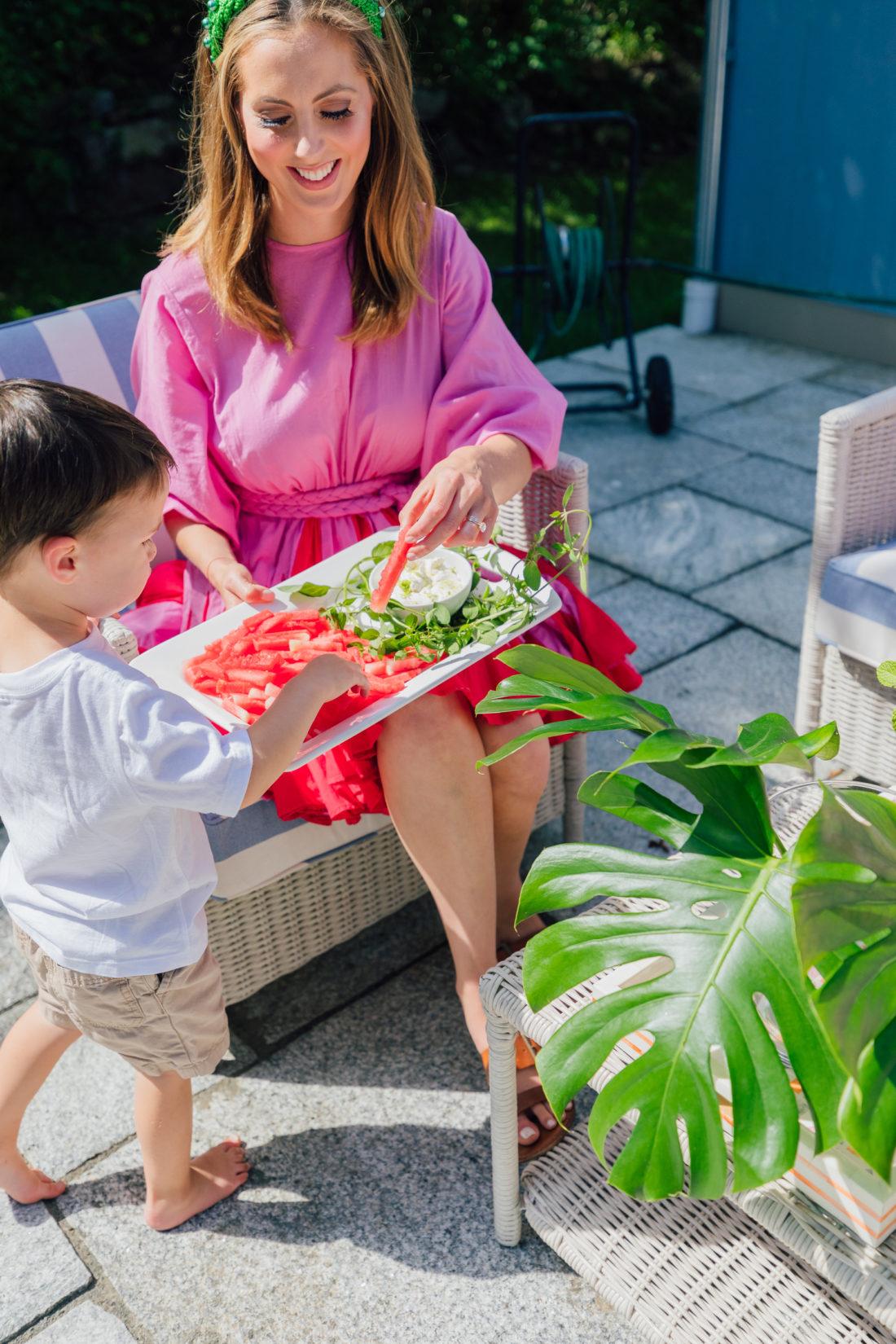 Eva Amurri Martino serves some watermelon fries to her son Major