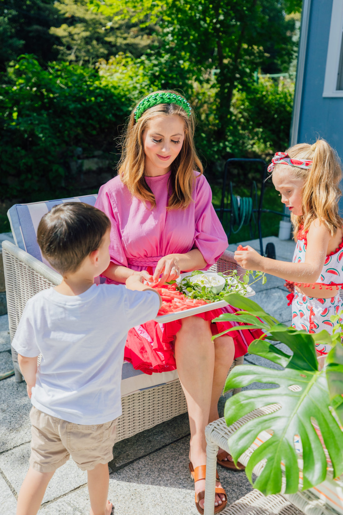 Eva Amurri Martino serves some watermelon fries to her son Major and daughter Marlowe