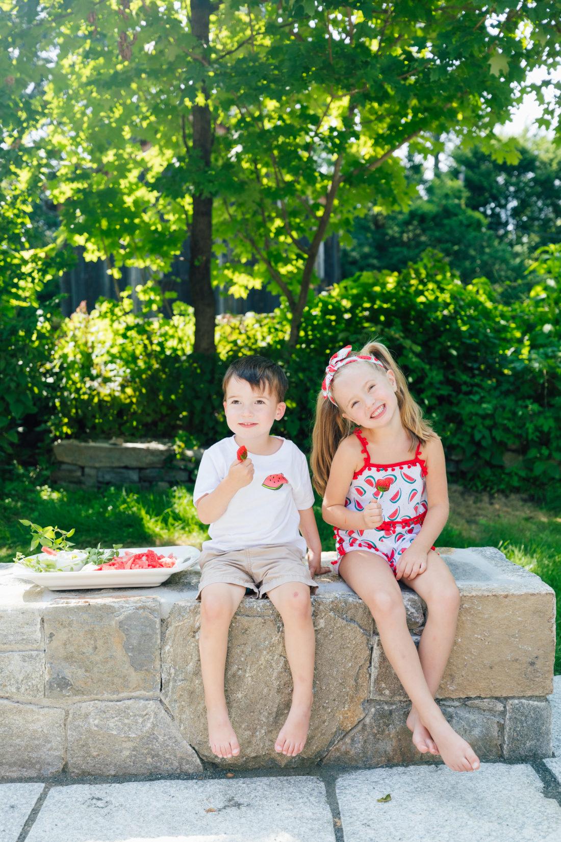 Eva Amurri Martino's daughter Marlowe and Major chow down on watermelon fries
