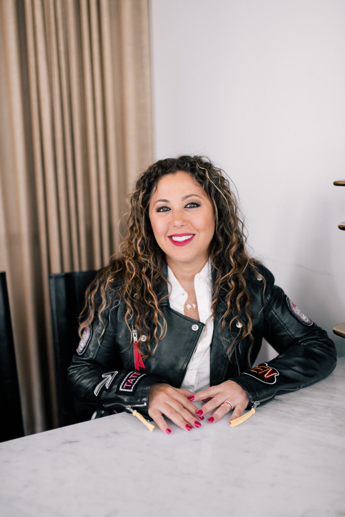 Rita Hazan sits in her salon in New York City
