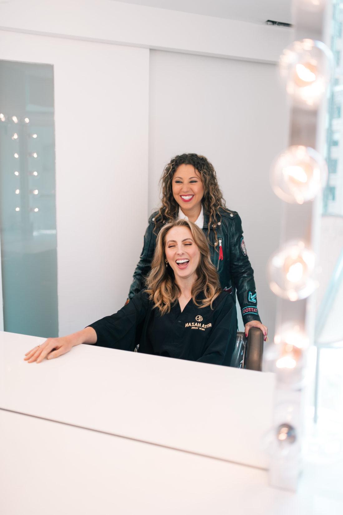 Rita Hazan plays with client Eva Amurri Martino's hair at her salon in New York City