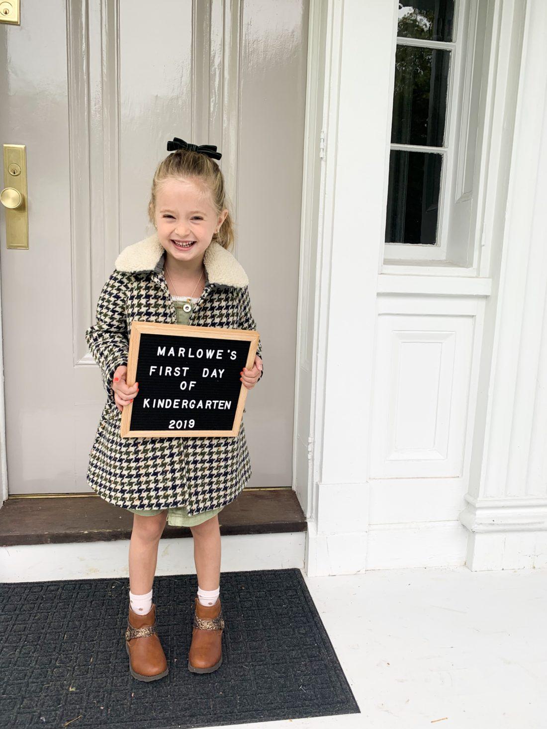 Marlowe Martino on her first day of Kindergarten