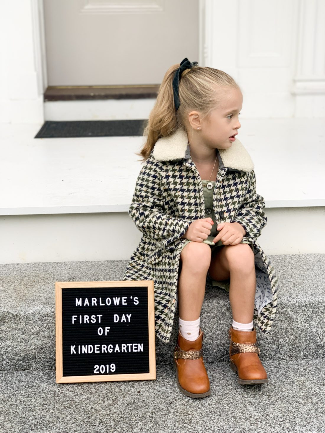 Marlowe Martino on her first day of Kindergarten