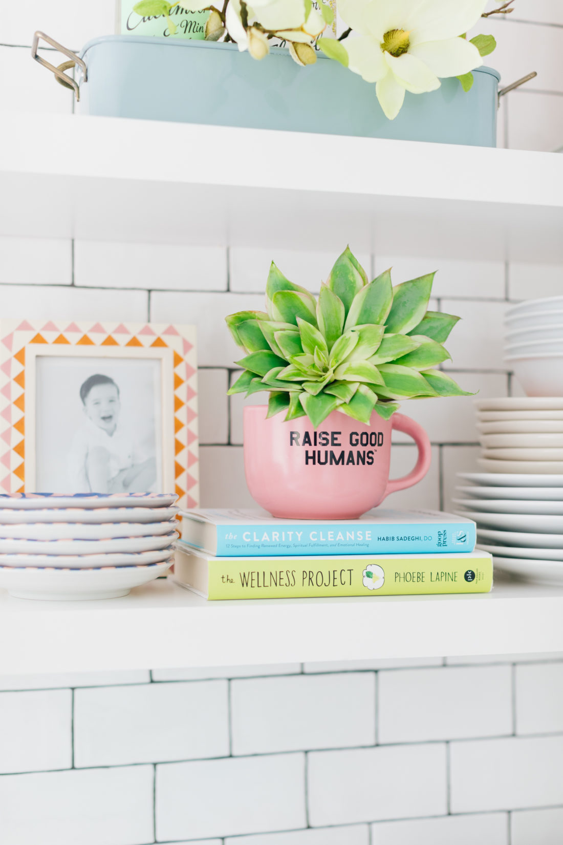 Details on the kitchen shelves in the Happily Eva After Studio