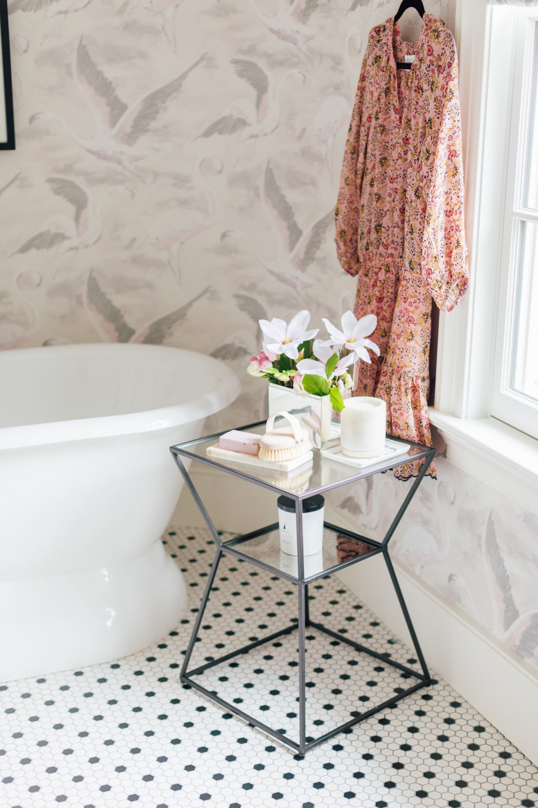 A side table in Eva Amurri Martino Master Bathroom