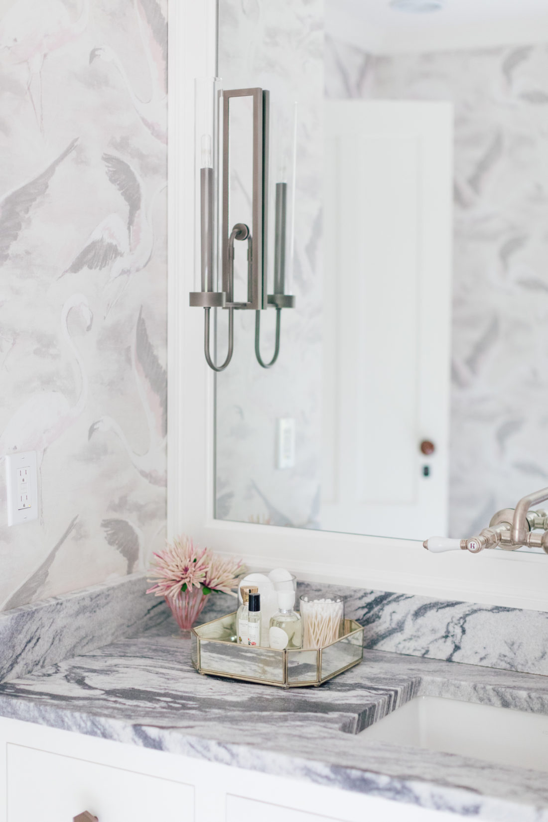 The countertop and mirror in Eva Amurri Martino Master Bathroom