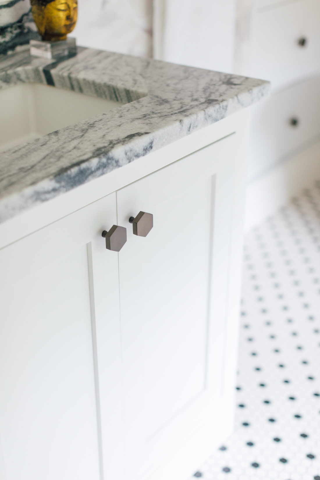 Detailed hexagon knobs in Eva Amurri Martino Master Bathroom