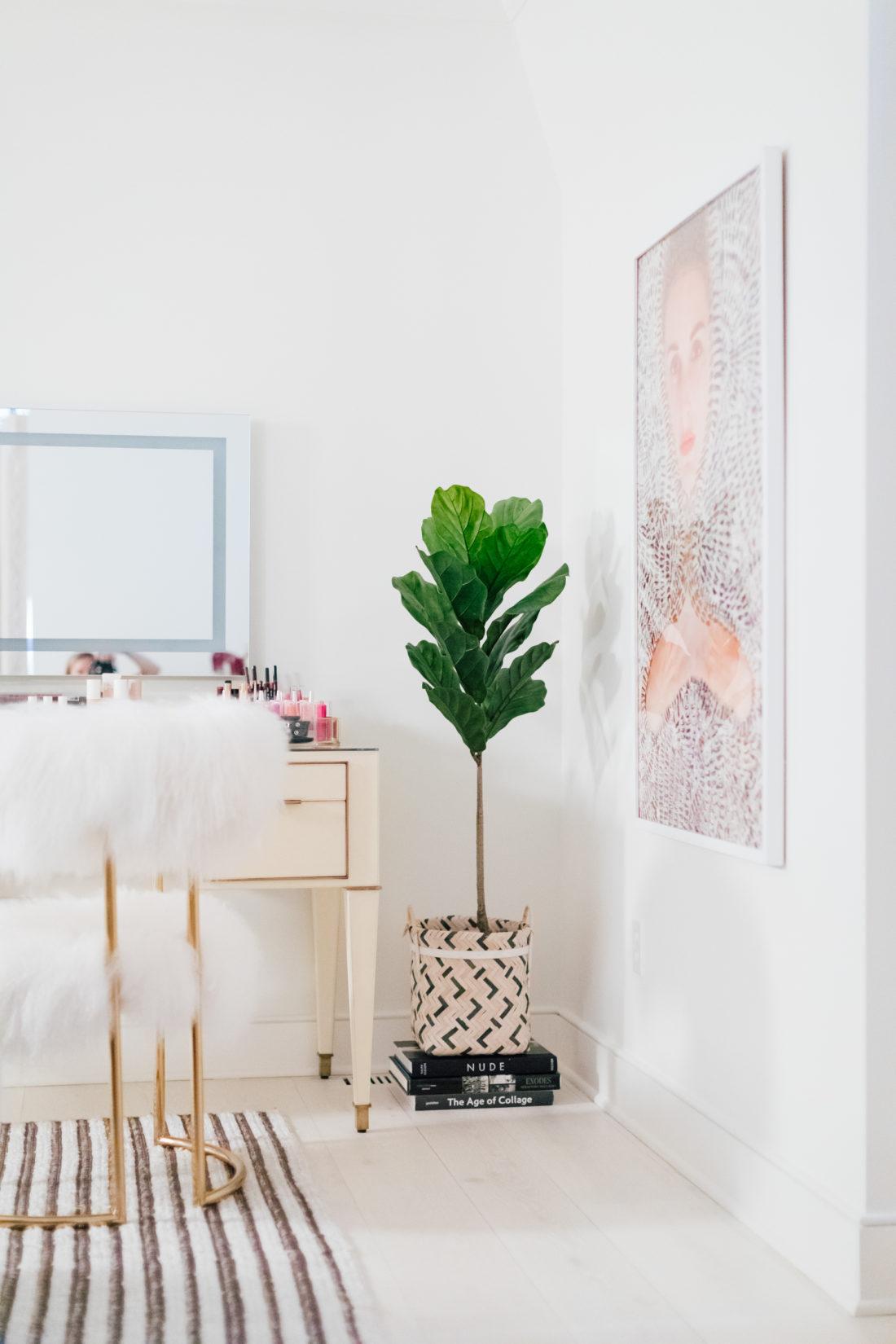 Faux foliage inside Eva Amurri Martino's new master bedroom