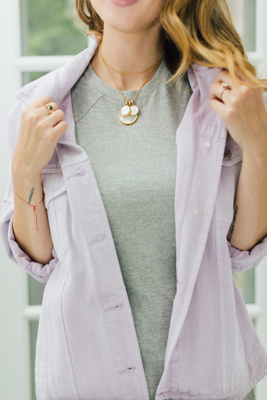 Eva Amurri Martino shares her September 2019 Obsessions which includes this ASHA Mother Of Pearl Customizable Necklace