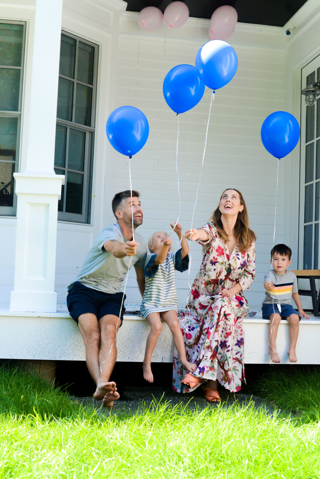 The Martino send their blue balloons to the sky at their gender reveal
