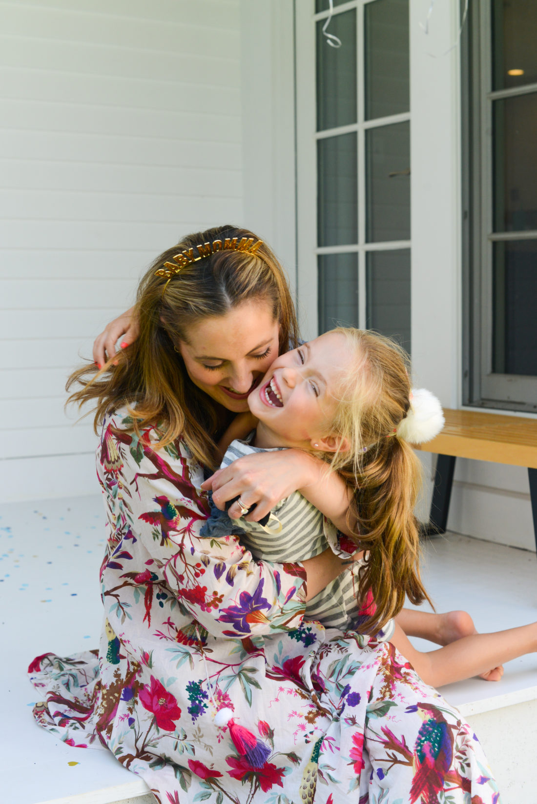 Eva Amurri Martino hugs daughter Marlowe after finding out the gender of their third baby