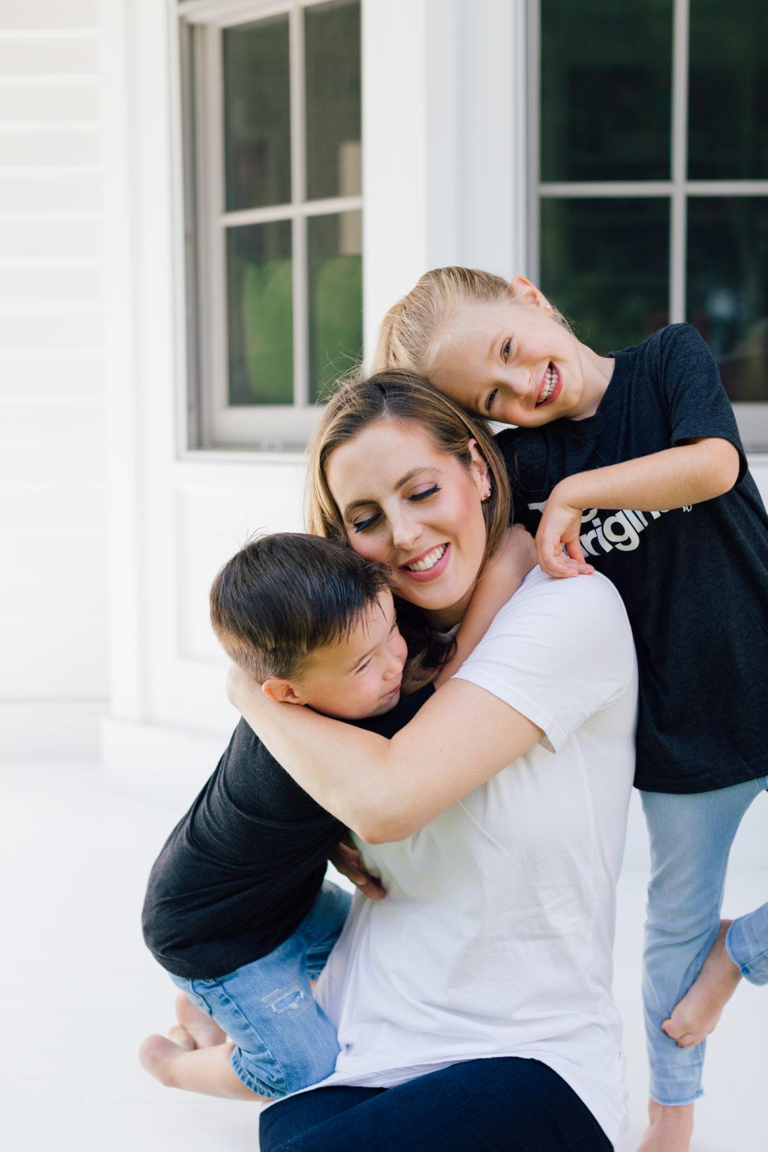 Eva Amurri Martino gets a sweet hug from kids Marlowe and Major