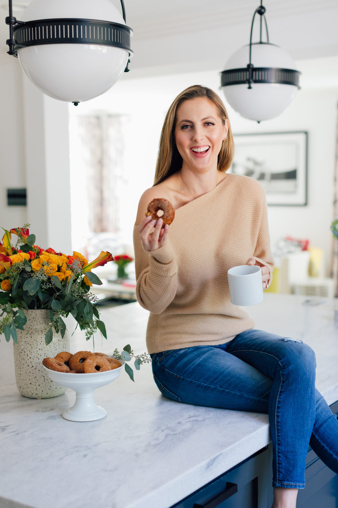 Eva Amurri Martino enjoys a homemade baked apple cider donut