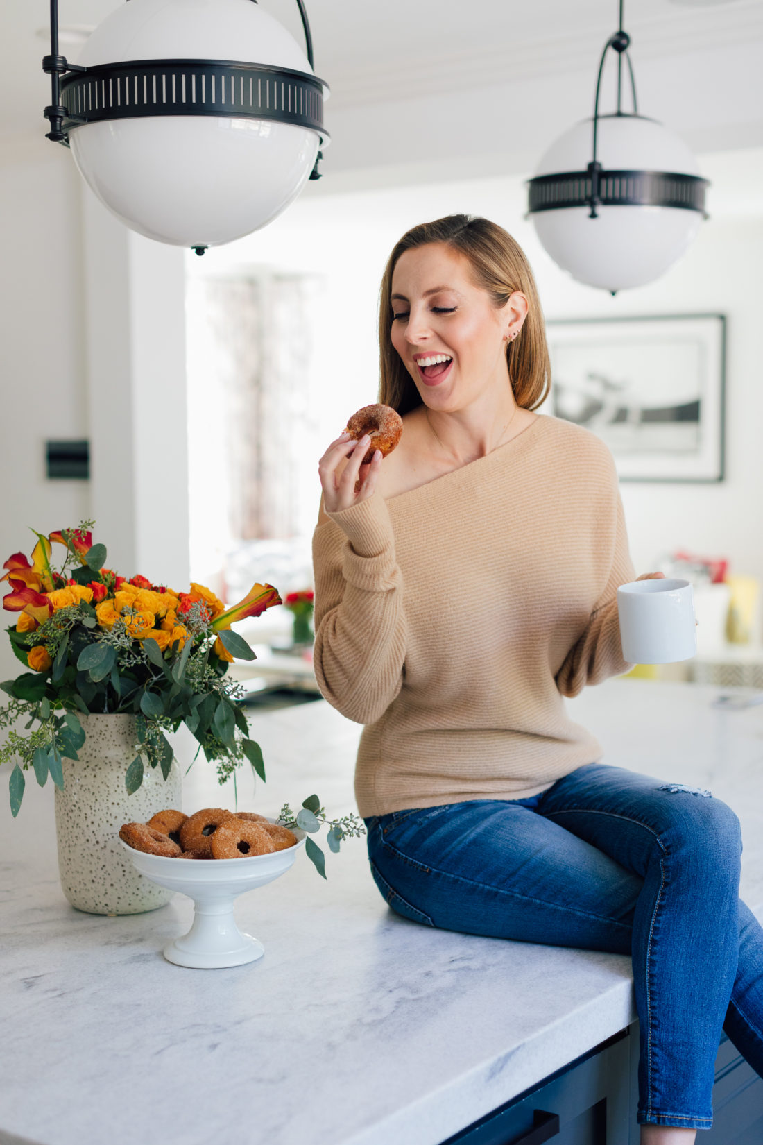 Eva Amurri Martino enjoys a baked apple cider donut