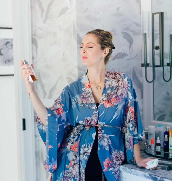 Eva Amurri Martino shares her updated pregnancy safe beauty routine while she sprays Dr. Hauschka's Facial Toner on her face