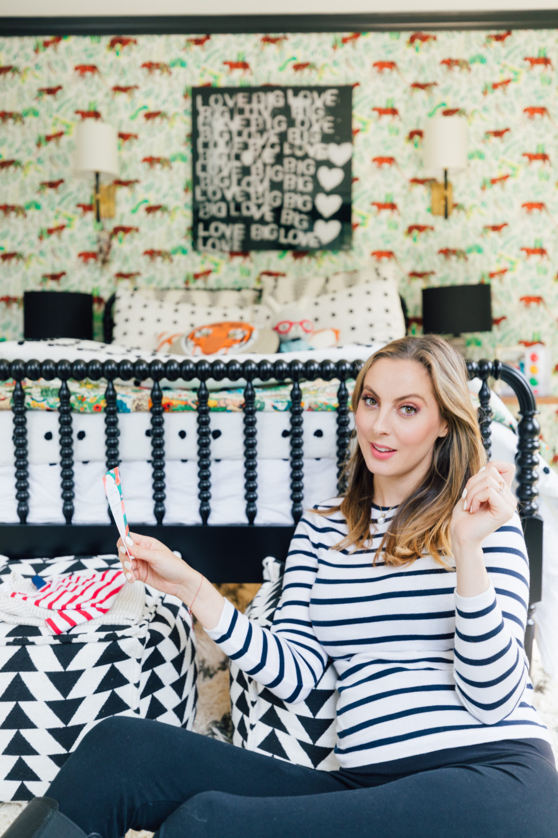 Pregnant Eva Amurri Martino looks at baby gear