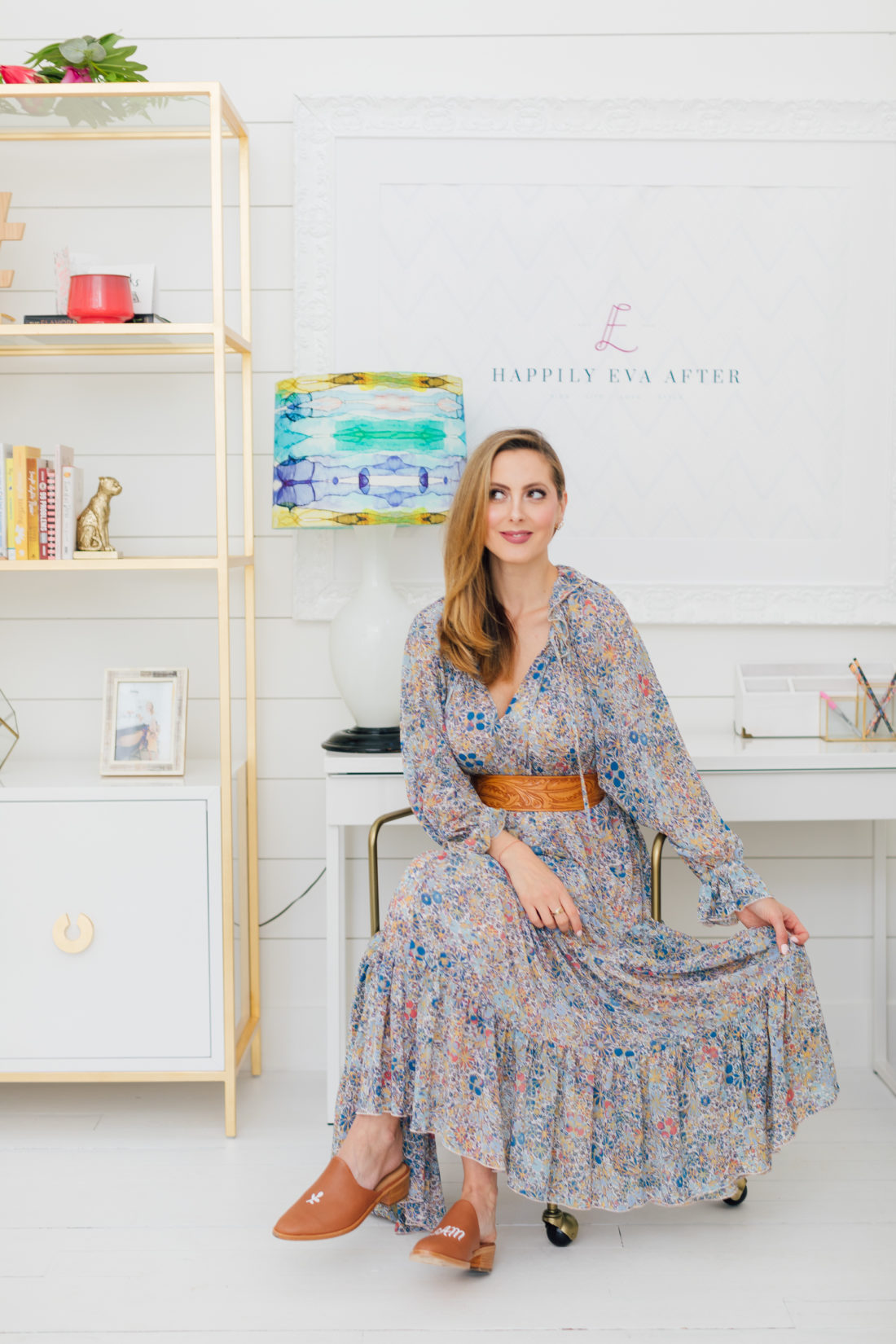 Eva Amurri Martino sits in the Happily Eva After Studio
