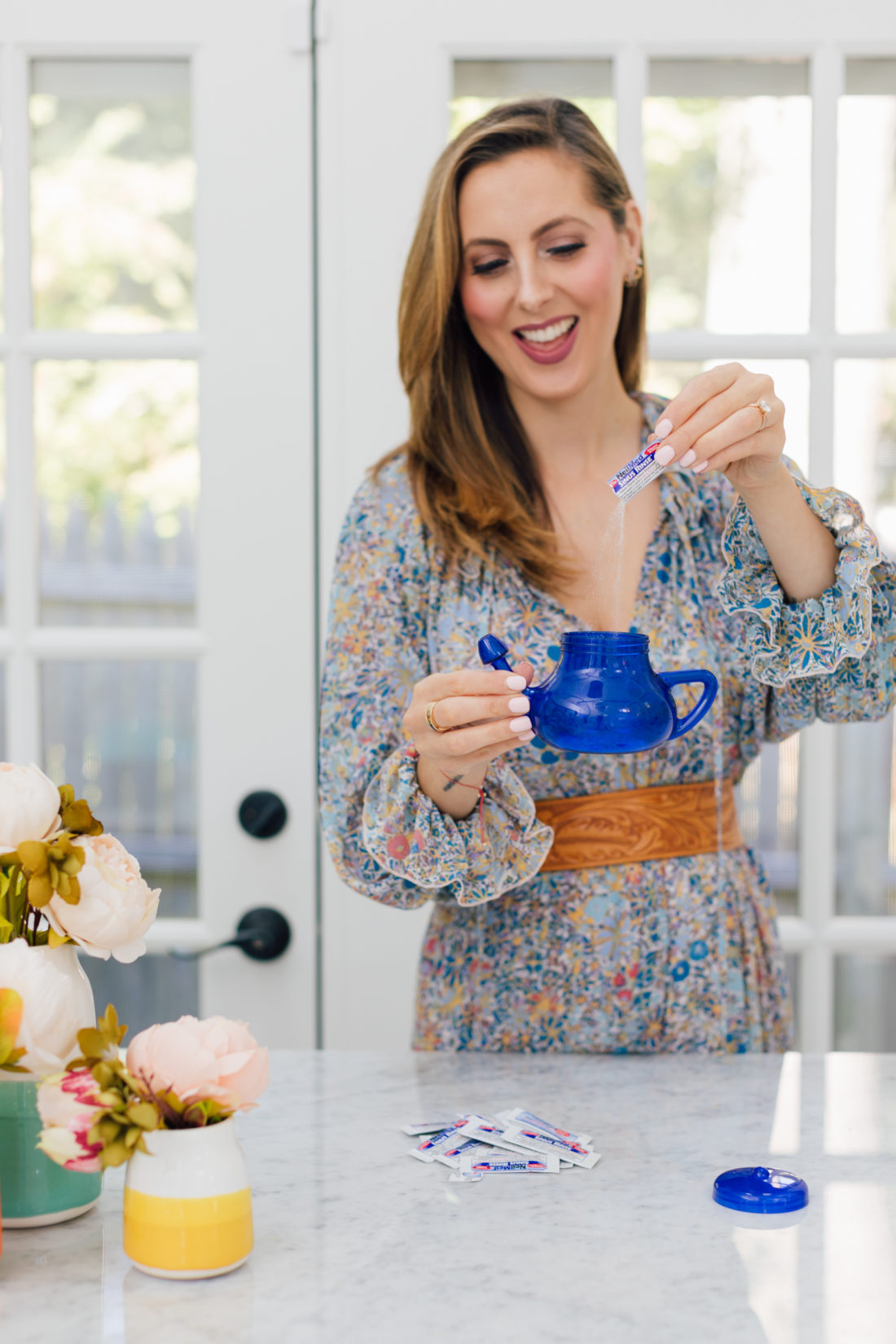 Eva Amurri Martino holds the Neil Med Sinus Rinse as part of her Eva's Obsessions October 2019