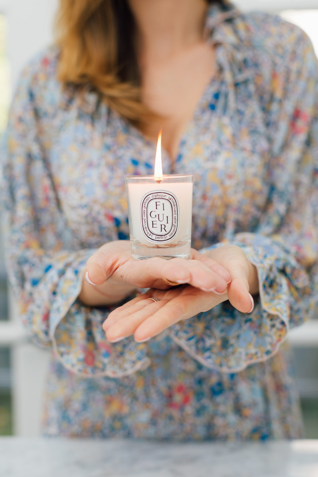 Eva Amurri Martino inhales a yummy Diptyque FIGUIER Candle in the Happily Eva After Studio
