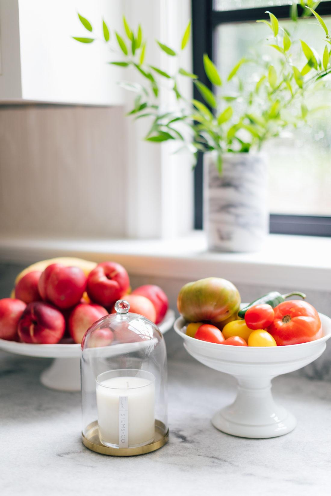 A detail shot of produce on the countertop of Eva Amurri Martino's renovated kitchen