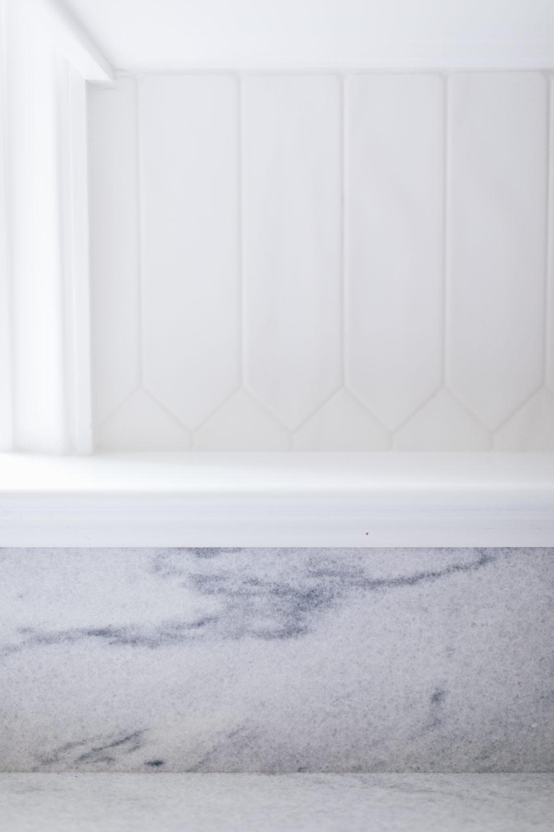 A closeup of the Polycor white cherokee marble in Eva Amurri Martino's renovated Connecticut kitchen