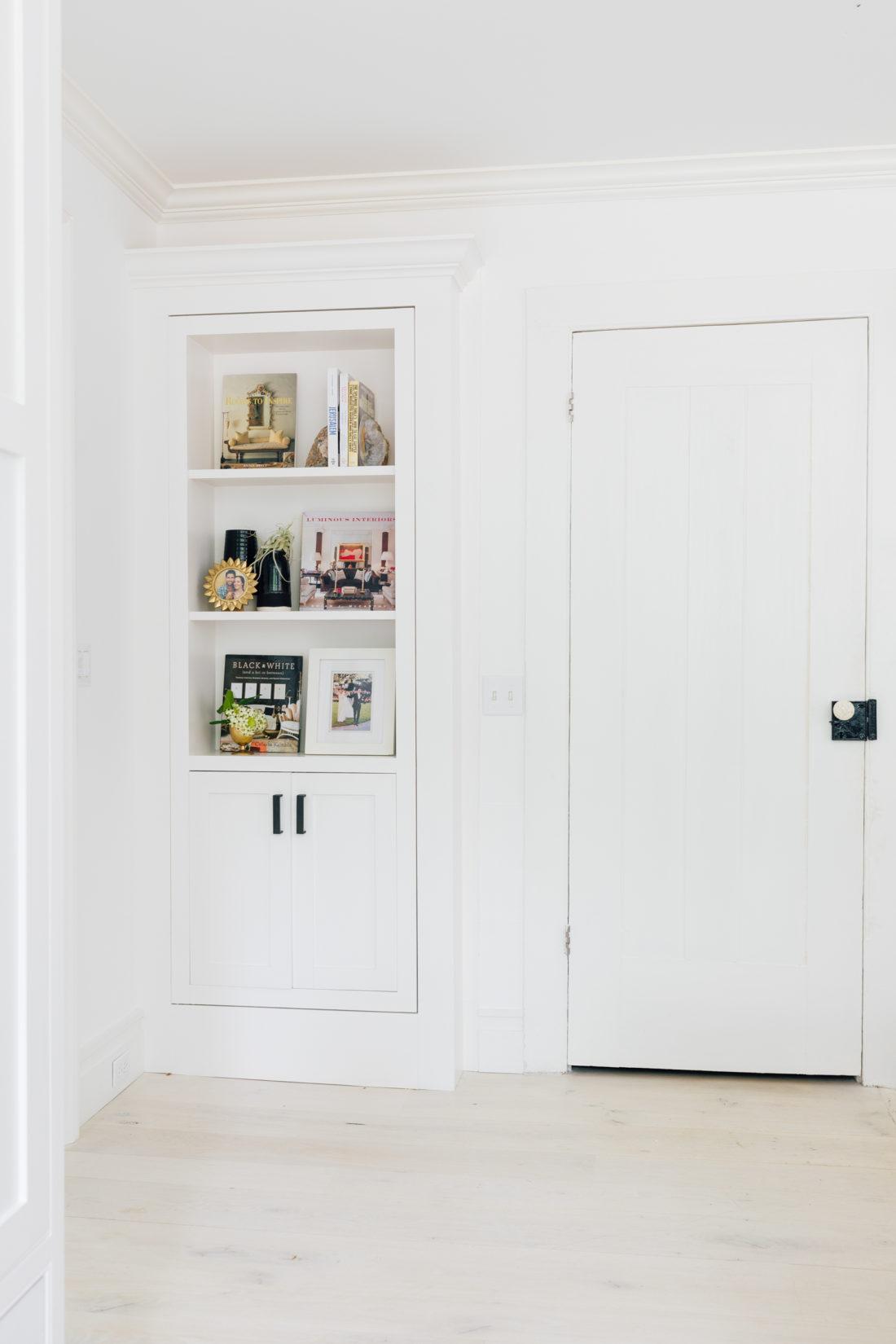 A styled bookshelf in Eva Amurri Martino's renovated Connecticut kitchen