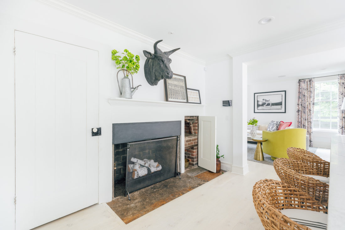 The fireplace and original wood oven are both on display in Eva Amurri Martino's renovated Connecticut kitchen