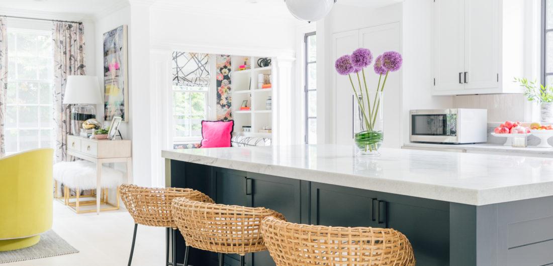 The dark black island, and beautiful white cherokee marble are on prime display in Eva Amurri Martino's renovated Connecticut kitchen