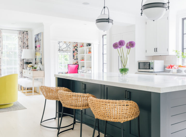 The dark black island, and beautiful white cherokee marble are on prime display in Eva Amurri Martino's renovated Connecticut kitchen
